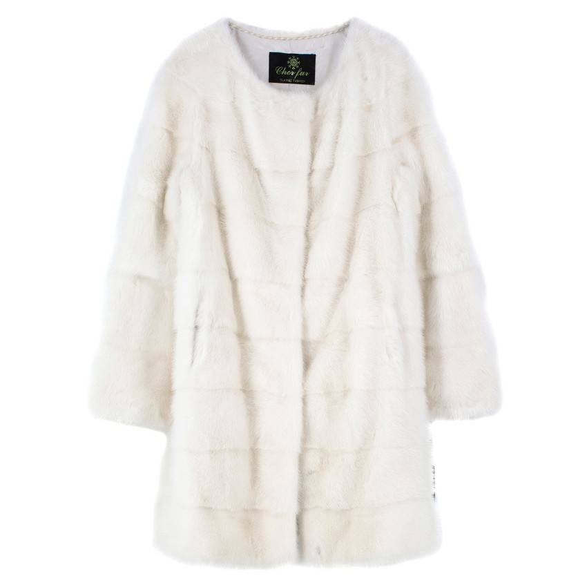 Cher Fur White Mink Fur Longline Coat with inner waist ties