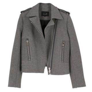 Isabel Marant 'Giovan' Grey Wool Biker Jacket