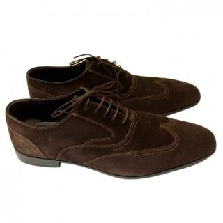 Ermenegildo Zegna chocolate brown suede brogues UK9