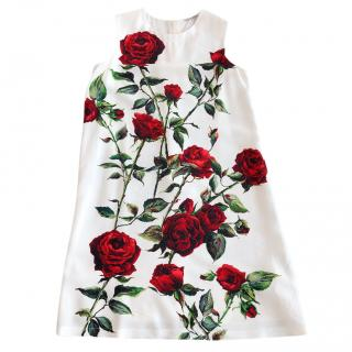 Dolce & Gabbana Girls Rose Print Dress