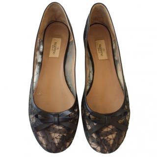 Valentino black lace flats
