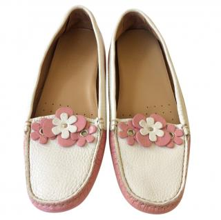 Car Shoe Pink and White Flats