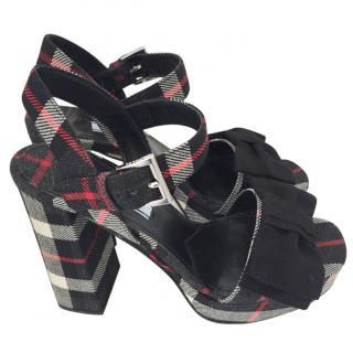 Prada Tartan Platform Sandals