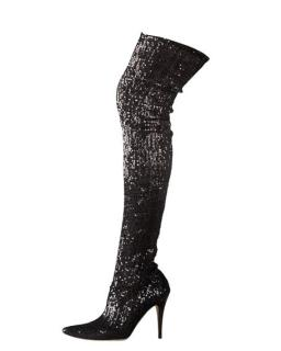 Manolo Blahnik Sequined Pascalare Over-The-Knee Boot