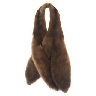 Harrods Bespoke Glossy Brown Luxury Mink Fur Collar