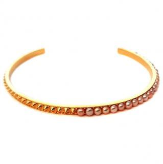 Mounser Gold Unity Asymmetrical Pearl Choker Necklace