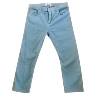 Acne Turquoise Cropped Mid-rise Jeans