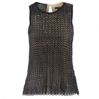 Arzu Kaprol Woven Leather & Silk Top