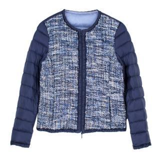 Moncler Blue Tweed Duvet Jacket