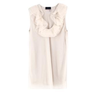 Lanvin Cream Ruffled Silk Top