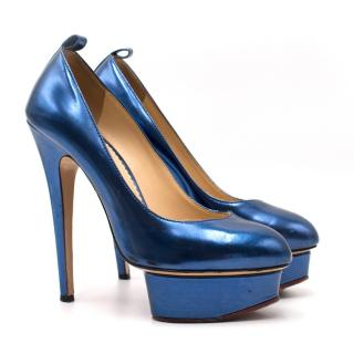 Charlotte Olympia Blue Patent Leather Dolores Pumps