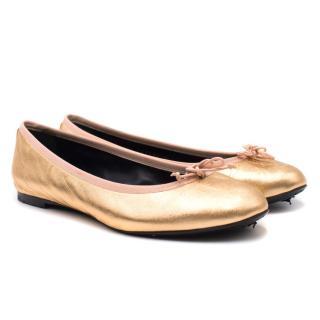 Saint Laurent Metallic Ballerina Flats