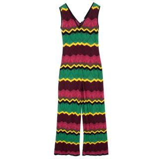 Missoni V-Neck Zigzag Knit Jumpsuit