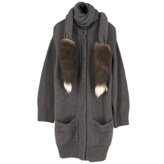 Dolce & Gabbana Grey Wool & Alpaca Blend Fox Tail Trim Cardigan