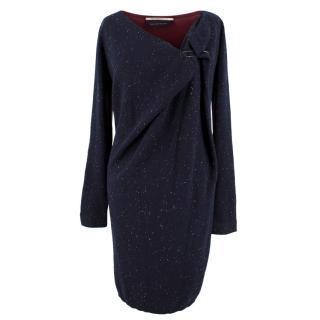 Roland Mouret Navy and Red Wool and Silk Blend Dress