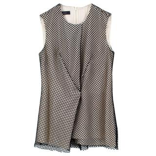 Cedric Charlier White and Black Mesh Top