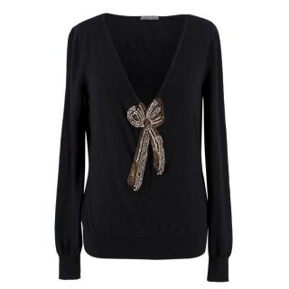 Alexander McQueen Black Cashmere Bow Embellished Sweater