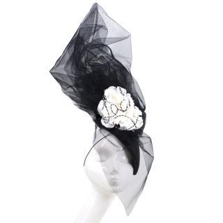 Victoria Grant Bespoke Black Lady Rose Embellished Hat