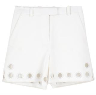 Women's White Eyelet Cutout Hem Twill Shorts