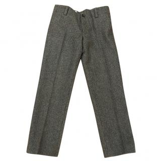 Gucci boys light wool check trousers