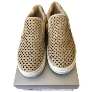 Stuart Weitzman Girl's Gold Sneakers