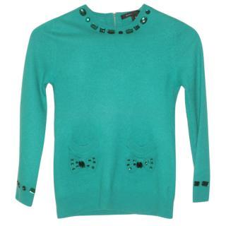 Marc Jacobs embellished green jumper