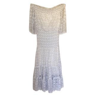 Temperley White Paneled Bardot Dress