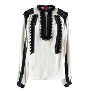 Lanvin Ivory & Black Silk Blouse