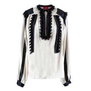 Lanvin Ivory & Black Silk Blouse