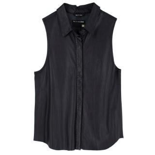 Rag and Bone Black Leather Sleeveless Vest