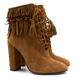 Aquazzura Woodstock Suede Fringed Ankle Boots