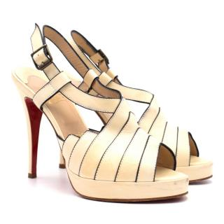 Christian Louboutin Cream Peep-Toe Sandals