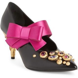 Prada Jeweled Bow-Detail Pointed Toe Pumps
