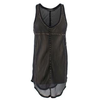 Isabel Marant Black Sheer Silk Tank Top