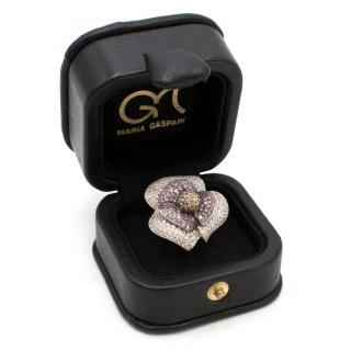 Maria Gaspari 18k White Gold Diamond & Sapphire Floral Ring