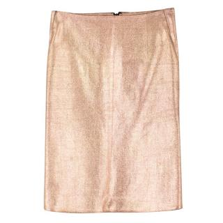 Cedric Charlier Wool-Blend Metallic Pencil Skirt