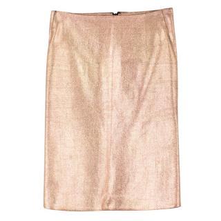 Cedric Charlier Wool-Blend Metallic Pencil Skirt