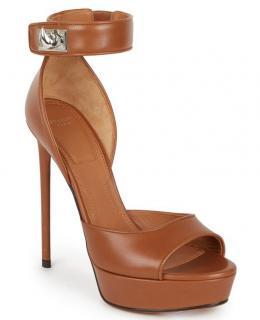 Givenchy Shark Lock Leather Platform Sandals