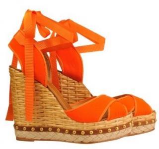 Dolce & Gabbana Orange Espadrille Wedges