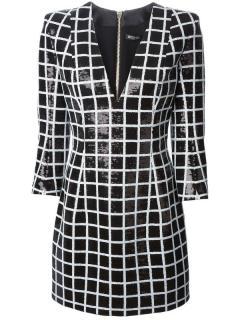 Balmain black and white sequin mini dress