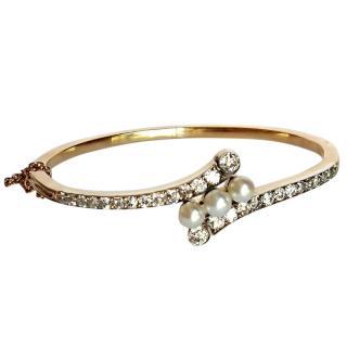 Bespoke 18ct Gold 2.50ct Diamond & Pearl Bracelet