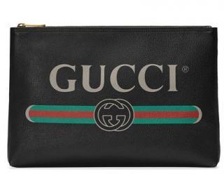 Gucci black leather logo clutch/pouch