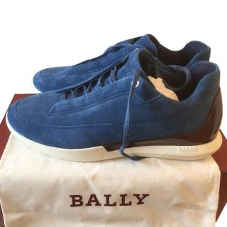 Bally Mens Blue Suede Trainers