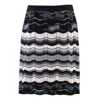 M Missoni Black and White Striped Skirt