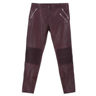 Joseph Burgundy Purple Leather Trousers