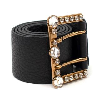 Miu Miu Crystal Buckle Leather Belt