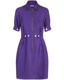 Sandro Purple Woven Linen Mini Dress
