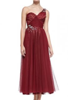 Marchesa Notte One-Shoulder Embroidered Tulle Dress