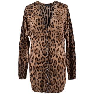 Dolce & Gabbana Leopard Print Wool Cardigan
