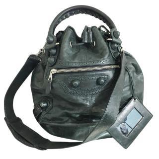 Balenciaga Pompon Leather Shoulder Bag